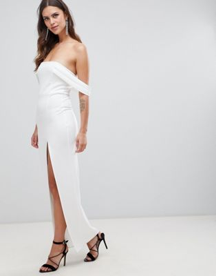 Asos Design Bardot Strap Maxi Dress With Thigh Split Maxi Dress Prom Fashion Photoshoot Dress