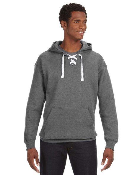 J America Adult Comfortable Sport Lace Hooded Sweatshirt