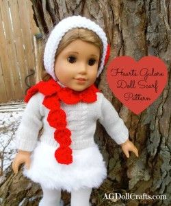 Free Crochet Pattern for a Valentine's Day Hearts Galore Scarf for 18 inch dolls via AGDollCrafts.com #AmericanGirlDolls