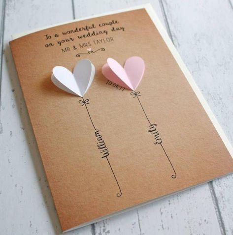 Selbstgemachte 3D Hochzeitskarte, weißes und rosa Herz, personalisierte Karte