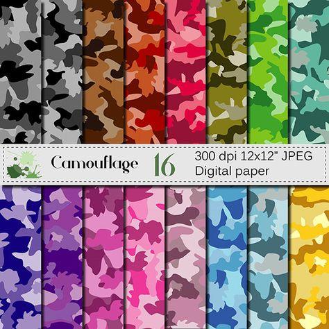Camouflage Digital paper set Colorful Camouflage Digital Papers Scrapbook Papers camo Papers USD) by VRDigitalDesign