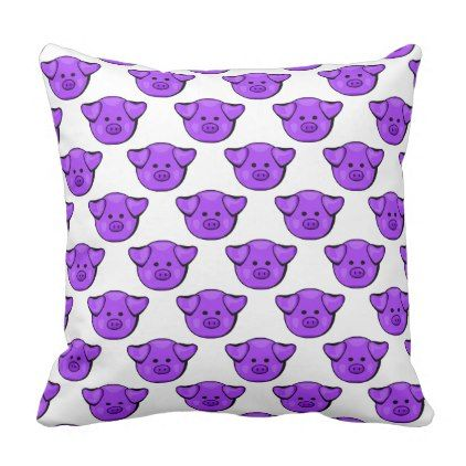 Cute Purple Pigs Throw Pillow Animal Gift Ideas Animals