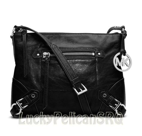 49887030c2ff67 Michael Kors Fallon Medium Black Leather Crossbody Messenger Bag Handbag  NWT #MichaelKors #MessengerCrossBody