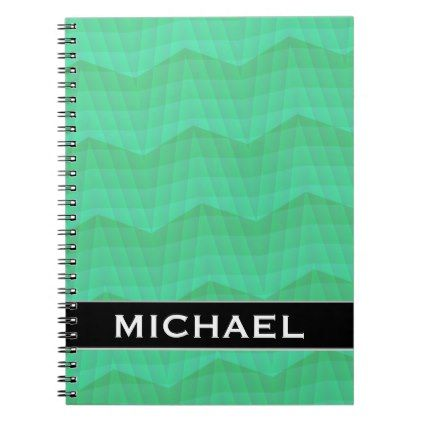Abstract Aquamarine Wavy And Lines Pattern Name Notebook Line
