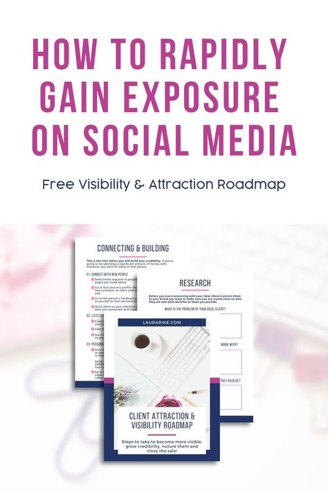 Creating a social media roadmap for your business visibility can be hard. Download this business marketing action plan to rapidly gain visibility on social media and convert them into clients! #socialmediaideas #marketingplan #visibility