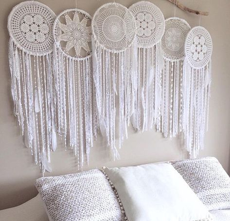 Each dreamcatcher is unique photos used as display only of previously sold wall mural. Product Info This mural includes; 6X 30CM Bliss Dreamcatchers Sample style, when you purchase this item you are getting a 100% handmade Wall Mural where each doily is unique. Size: 30cm individual Hoop