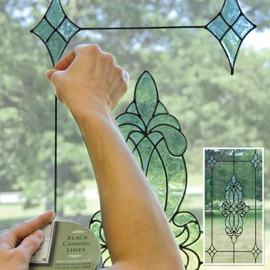 Window clings from bed bath and beyond to make the window look like stained glass