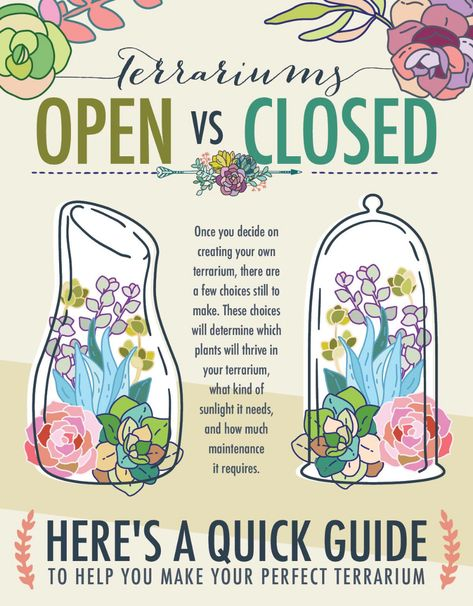 Gardening Tips Terrariums - Open vs Closed. There is a difference in the two types of terrariums and what can grow in them. Build A Terrarium, How To Make Terrariums, Moss Terrarium, Succulent Terrarium Diy, Closed Terrarium Plants, Terrarium Centerpiece, Making A Terrarium, Terranium Diy, Succulent Plants