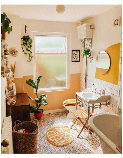 yellow boho bathroom