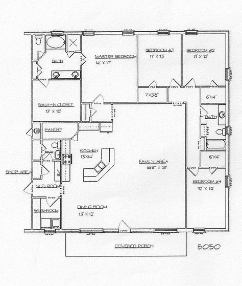 Swap the bath/closet and the master so it's not sharing a wall with the kids room.  Barndominium Designs for Metal Buildings | Barndominium and metal building plans | House Ideas ~ Present & Future