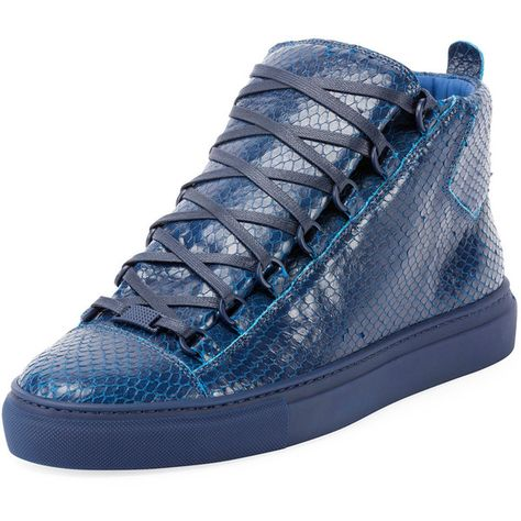 Balenciaga Men's Arena Faux Python Leather High Top Sneaker