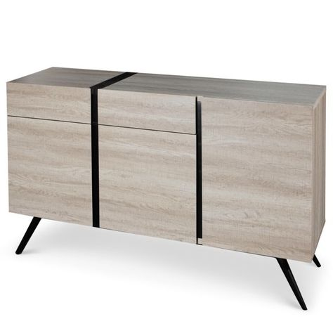 MENZZO Buffet scandinave Allure Chêne clair et Noir | Commodes and ...