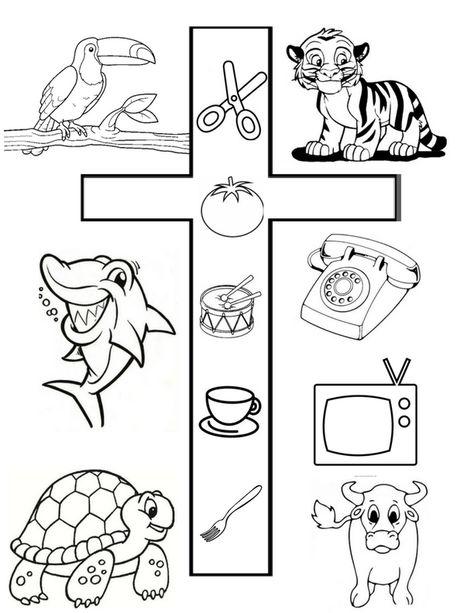 Letra T Para Colorear Con Dibujos Escuela Actividades De