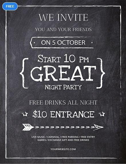 Free Chalkboard Flyer Party Flyer Designs Powerpoint