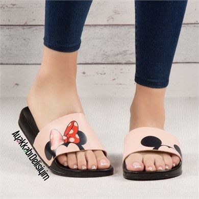 Minki Pudra Mickey Mouse Desenli Terlik Terlik Sandalet Pudra