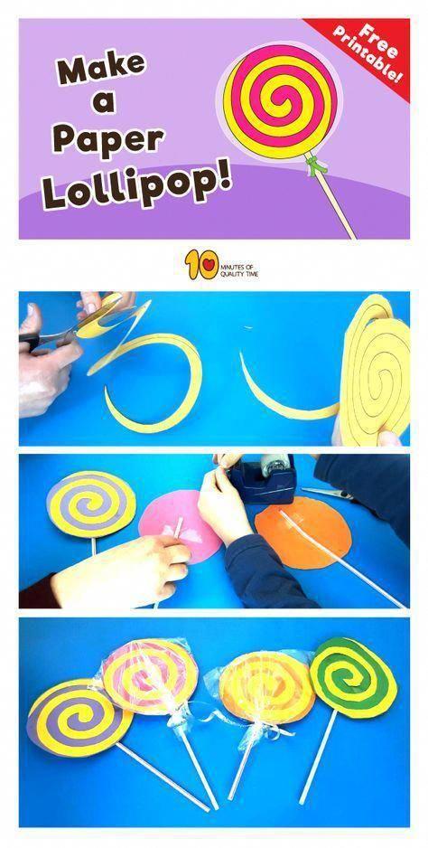 Paper Lollipop Craft Theme Bonbons Bricolage Et Loisirs Creatifs Charlie Et La Chocolaterie