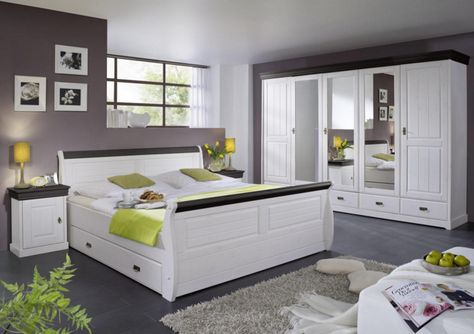 Schlafzimmer Komplett Dekor Weiss Kiefer Massiv Holz Bett 4 Stuck