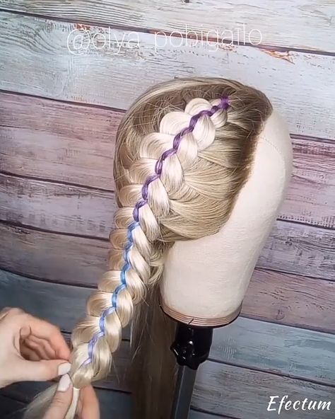 """💰Use code """"PIN"""" to save 50% OFF $$ 🎬 Quick tutorial 🎬 @olya_pobigailo Love this braids using color hair extensions. With the ribbon they looks gorgeous too. #braids #braid #hairvideo #hairstylevideo #hairtutorial #hairstyletutorial #haireducation #easyhairstyles #easybraids #quickhairstyles #beautitutorial #longhair #longbraids #peinados"""
