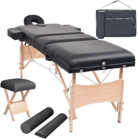 Vidaxl Table De Massage Pliable Tabouret Noir Lit De Massage Chaise Massage Sun Lounger Venray Things To Sell