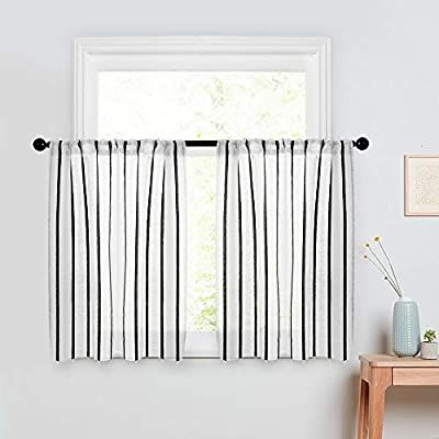 Amazon Com Mrtrees Striped Sheer Tier Curtains 45 Inch Length