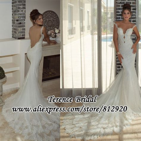 774eed0351 Spaghetti Straps Lace Applique Mermaid Sexy Low Back Wedding Dress 2014-in Wedding  Dresses from Apparel   Accessories on Aliexpress.com
