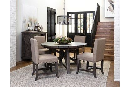 Jaxon Grey Round Extension Dining Table With Images Grey