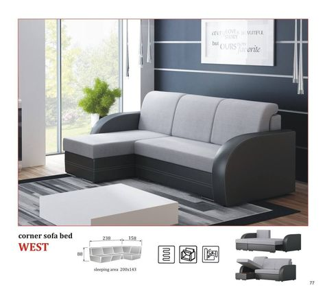 Corner Sofa Bed West 589 Including Vat Instalments From 12 Month 0 Free Delivery 24 Month Warranty Convenient Corner S Corner Sofa Bed Sofa Design Furniture