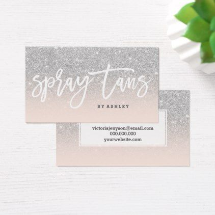 Spray Tans Typography Silver Glitter Blush Pink Business Card Zazzle Com Pink Business Card Spray Tanning Business Card Typography