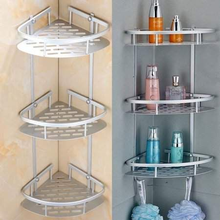 Telescopic Corner Shelf Unit Shower Caddy Organiser Kitchen Bathroom Towel Rack