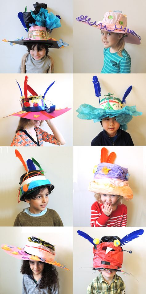 The task…to make a hat that you NEVER want to take off. The resulting hats? The task…to make a hat that you NEVER want to take off. The resulting hats? Crazy Hat Day, Crazy Hats, Silly Hats, Funny Hats, Diy For Kids, Crafts For Kids, Arts And Crafts, Mad Hatter Costumes, Mad Tea Parties