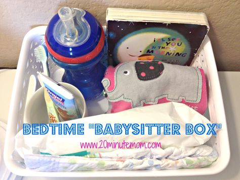 """A """"Babysitter Box"""" for an Organized Bedtime Routine by 20minutemom: This simple tip helps make going out a little easier and takes away some anxiety about leaving your little ones for much deserved break! Customize as needed. #Babysitter_Box"""