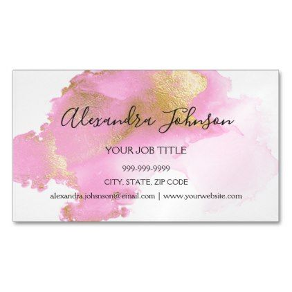 Blush Pink And Gold Foil Wash Girly Business Card Magnet Zazzle Com Girly Business Cards Gold Business Card Magnetic Business Cards