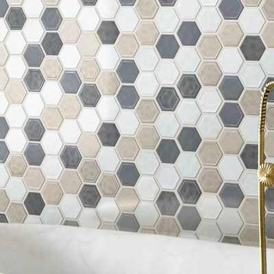 Shaw Floors Victoria Hexagon 1 X 1 Ceramic Mosaic Tile Wayfair Ceramic Mosaic Tile Mosaic Tiles Hexagonal Mosaic