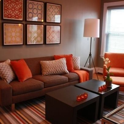 Contempoary Living Room With Orange Brown Rooms And Neutral Walls