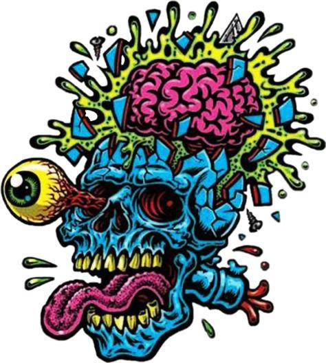 skull skulls calavera zombie art crazy toxic cool stick