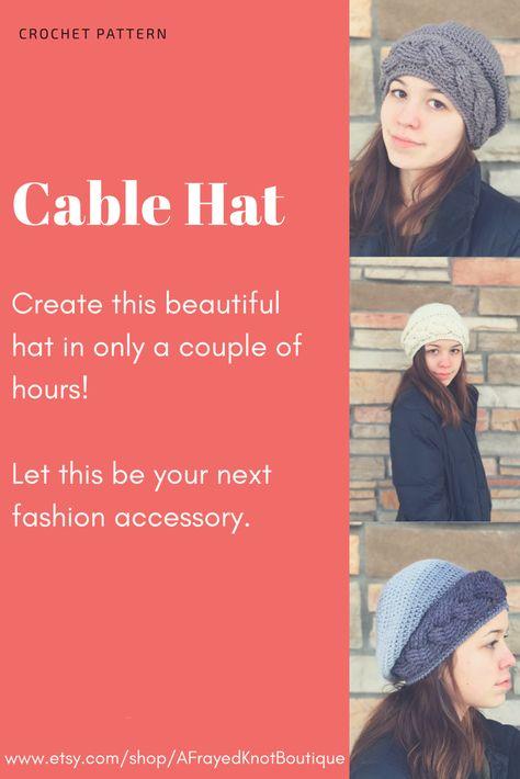 Crochet Pattern Slouch Hat Cable Slouch Hat Crochet Pattern
