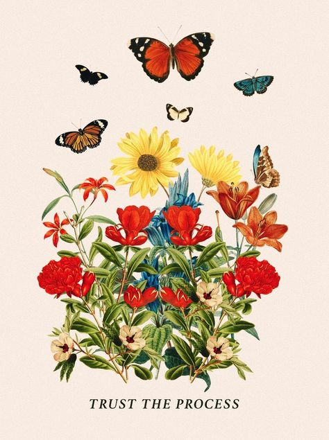 Trust the process vintage butterfly and flower tapestry wallpaper Photo Wall Collage, Picture Wall, Collage Art, Wall Art Collages, Flower Collage, Wall Prints, Poster Prints, Wall Posters, Fun Prints