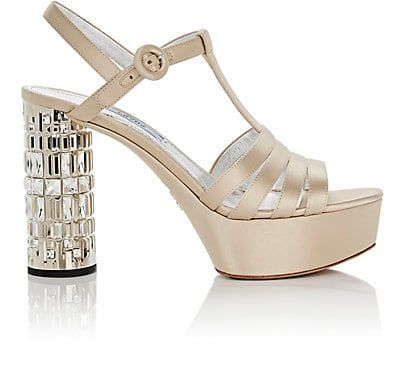 ce4017c7b77c preorder We Adore  The Embellished-Heel Satin Platform Sandals from Prada  at Barneys New York