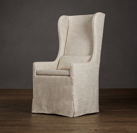 Slipcovered Wingback Dining Fabric Arm & Side Chairs | Restoration Hardware $350 - I'm drooling over this chair