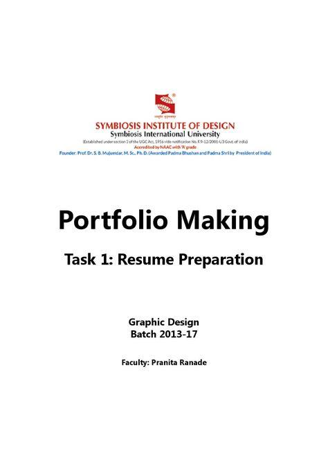 Portfolio making resume design 2013 17 batch Graphics, Institute - making a resume