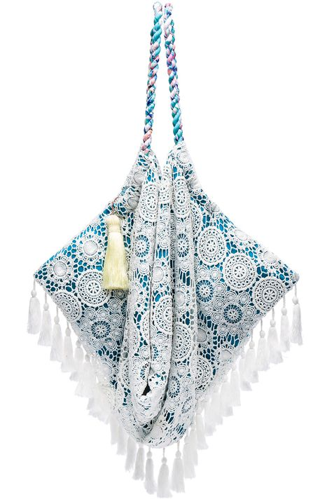 Blue and White Lace Beach Bag with Yellow Tassel