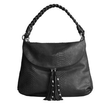 Johnston & Murphy: HOPE HOBO - Black Snake-Print Calfskin  #JohnstonMurphy another beautiful bag I would <3 to own!!