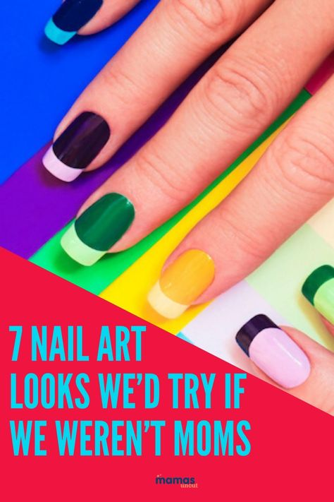 7 Gorgeous Nail Art Looks We'd Try if We Weren't Moms  Let's be honest: There's nothing more we'd love than a manicure. But even though these nail art looks are just gorgeous, they're not be great for our mom lives.  #nailart #manicures #pedicures
