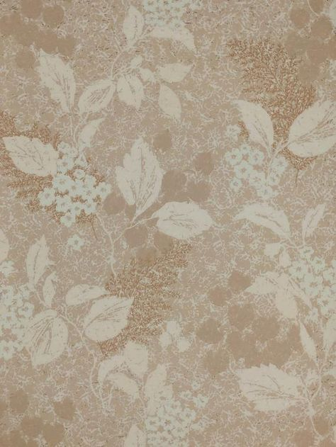 1960's Mid Century Original Vintage Wallpaper Tan and Light Blue Leaf Foliage with Gold Metallic — Several Rolls