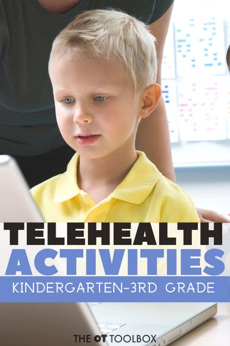 Occupational Therapy Teletherapy Activities These telehealth activities address OT goals for children kindergarten through grade Add these teletherapy activities to your online OT programming or home programs. Play Therapy Activities, Occupational Therapy Activities, Counseling Activities, Occupational Therapist, Behavioral Therapy, Sensory Activities, Work Activities, Physical Activities, Child Psychotherapy