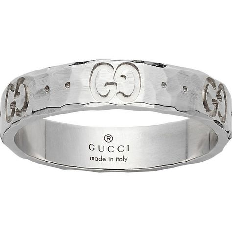 607cfc537988f5 Gucci Icon hammered 18ct white gold ring ( 550) ❤ liked on Polyvore  featuring jewelry