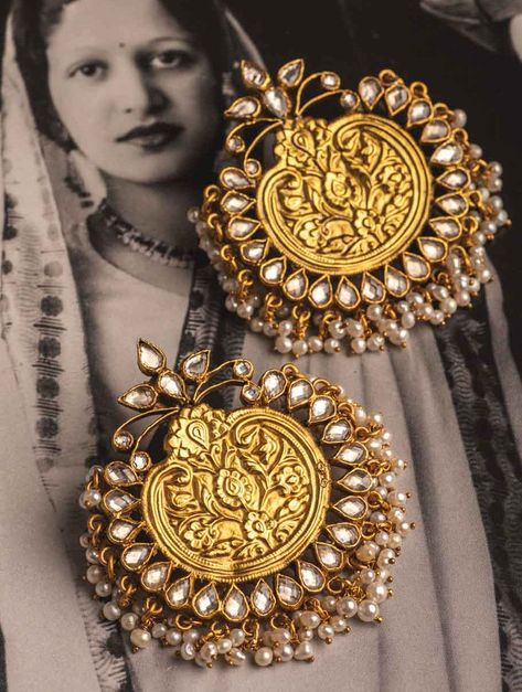 Buy White Golden Gold Plated Kundan Silver Earrings with Pearls 92.5 Synthetic Jewelry Online at Jaypore.com