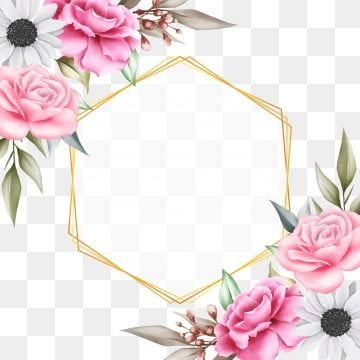 Beautiful Floral Background With Geometric For Invitation Cards Floral Clipart Wedding Invite Png And Vector With Transparent Background For Free Download Floral Background Watercolor Floral Wedding Invitations Hand Drawn Flowers