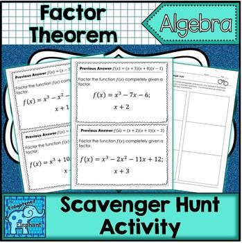 Factor Theorem Scavenger Hunt Activity With Images Factor