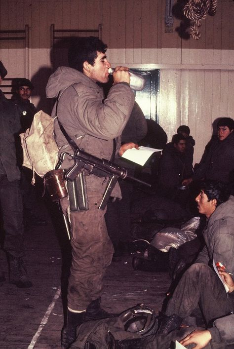 Argentine soldiers with a US SMG,Falkland War.